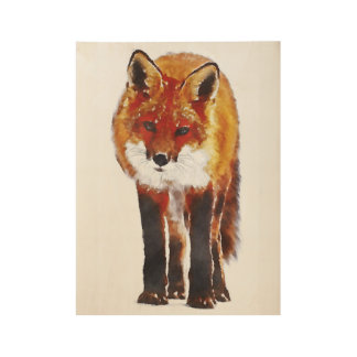 fox poster, foxy decor, fox cub gifts wood poster