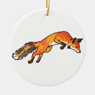 Fox Pounce Ceramic Ornament