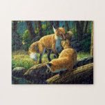 Fox Pups Playing Puzzle