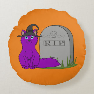 Fox púrpura con la piedra del sepulcro del RASGÓN Cojín Redondo