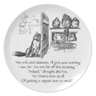 Fox que escucha detras de las puertas en pollos plato de cena