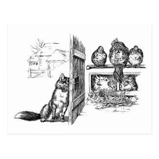 Fox que escucha detras de las puertas en pollos tarjeta postal