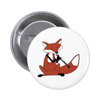 Fox que juega el Clarinet Pin Redondo 5 Cm