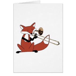 Fox que juega el Trombone Tarjeta De Felicitación