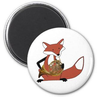 Fox que juega la trompa imán redondo 5 cm
