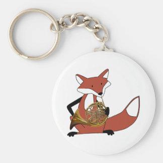 Fox que juega la trompa llavero redondo tipo pin