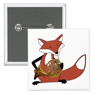 Fox que juega la trompa pin cuadrada 5 cm