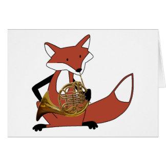 Fox que juega la trompa tarjeta de felicitación