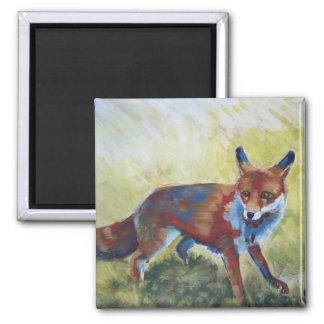 Fox que mira la pintura asustada imanes para frigoríficos