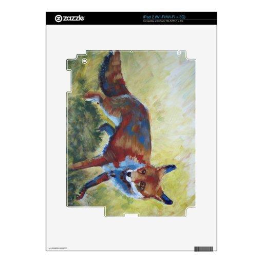 Fox que mira la pintura asustada skin para el iPad 2