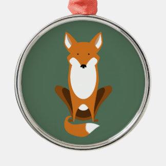 Fox que se sienta adorno redondo plateado