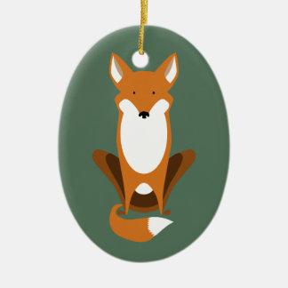 Fox que se sienta adorno ovalado de cerámica