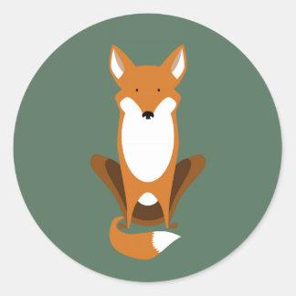 Fox que se sienta pegatina redonda