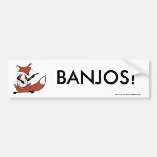 Fox que toca el banjo pegatina de parachoque