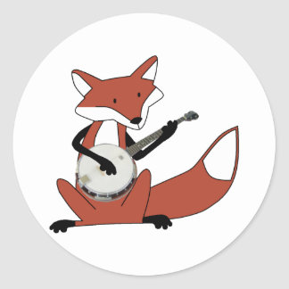 Fox que toca el banjo pegatina redonda