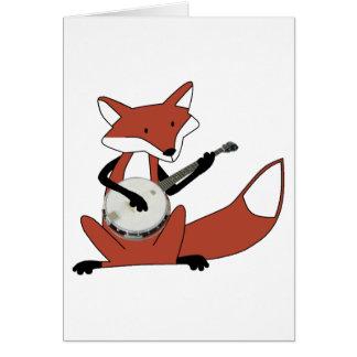 Fox que toca el banjo felicitación