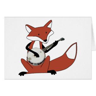 Fox que toca el banjo tarjeta de felicitación