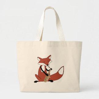 Fox que toca el saxofón bolsas de mano