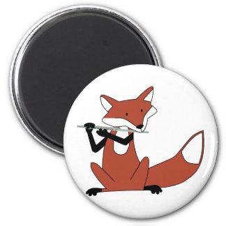 Fox que toca la flauta imán redondo 5 cm