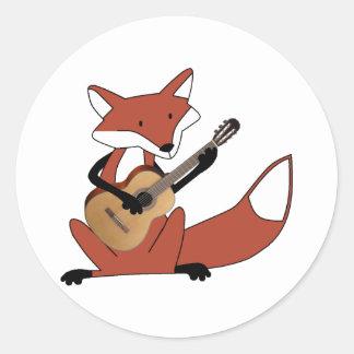Fox que toca la guitarra etiquetas redondas