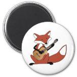 Fox que toca la guitarra iman para frigorífico