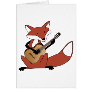 Fox que toca la guitarra tarjeta de felicitación
