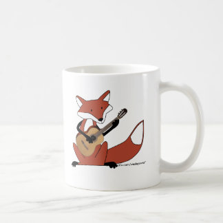 Fox que toca la guitarra taza de café