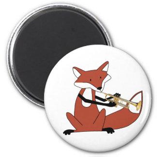 Fox que toca la trompeta imán redondo 5 cm