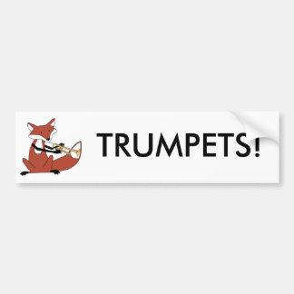 Fox que toca la trompeta pegatina para auto