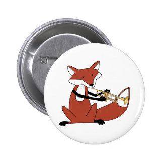 Fox que toca la trompeta pin redondo de 2 pulgadas