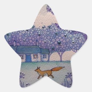 Fox que vaga pegatina en forma de estrella
