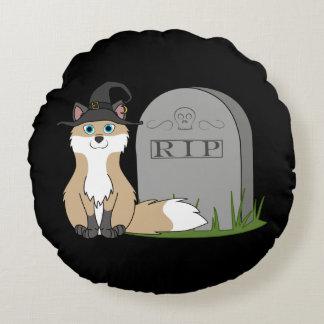 Fox rápido con la piedra del sepulcro del RASGÓN Cojín Redondo