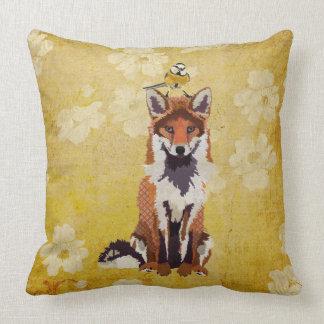 Fox retro y pequeña almohada del pájaro