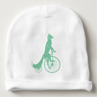 Fox Rider on Penny Farthing Bicycle Baby Beanie