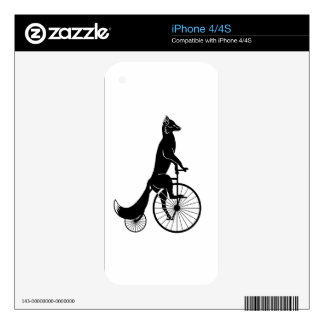 Fox Riding a Bike Decals For iPhone 4S