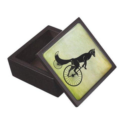 Fox Riding a Bike Jewelry Box