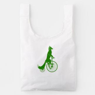 Fox Riding a Bike Reusable Bag