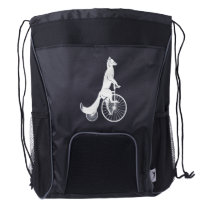 Fox Riding a Penny Farthing Drawstring Backpack