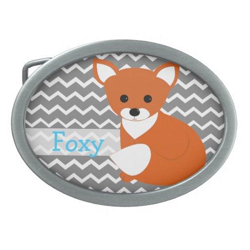 Fox rojo astuto hebillas de cinturon ovales