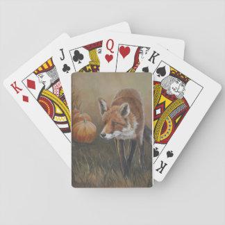 Fox rojo con el naipe del arte de las calabazas cartas de juego