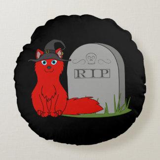 Fox rojo con la piedra del sepulcro del RASGÓN Cojín Redondo