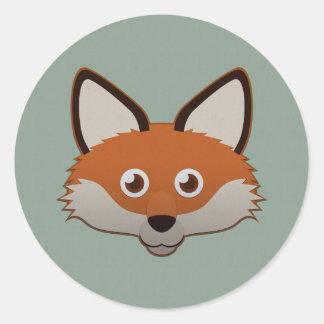 Fox rojo de papel pegatinas redondas