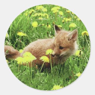 Fox rojo del bebé en campo verde con las flores pegatina redonda