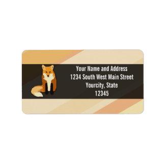 Fox rojo del naranja etiquetas de dirección