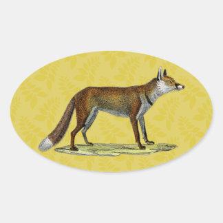 Fox rojo del vintage calcomanías ovales personalizadas