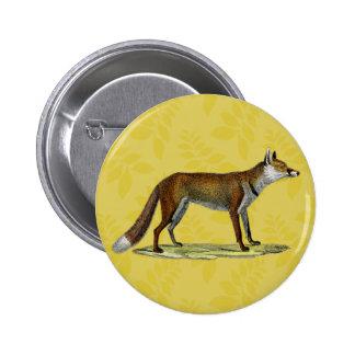 Fox rojo del vintage pin redondo de 2 pulgadas
