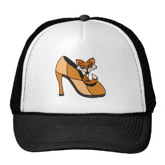Fox rojo en arte del zapato del tacón alto gorras de camionero