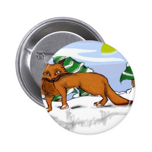 Fox rojo en la nieve pins
