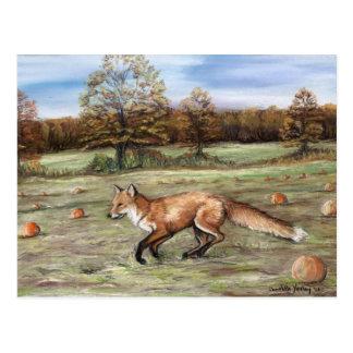 Fox rojo en la pintura en colores pastel del arte postal