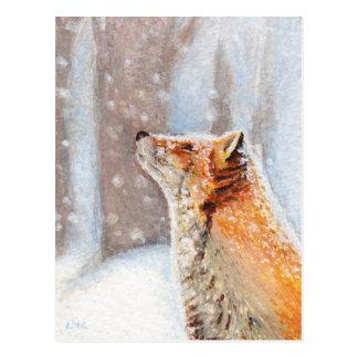 Fox rojo en la postal de la pintura de la nieve